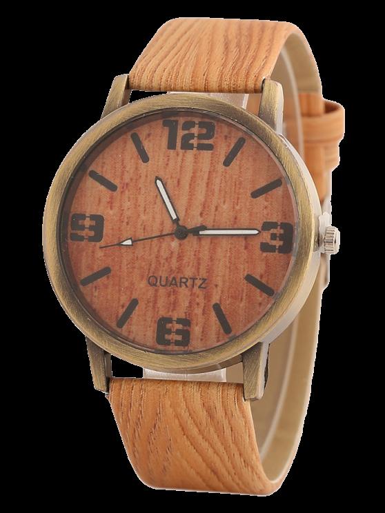 Montre motif de bois - Orange