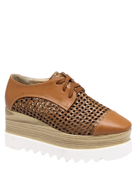 sale Hollow Out Lace-Up  Platform Shoes - LIGHT BROWN 40