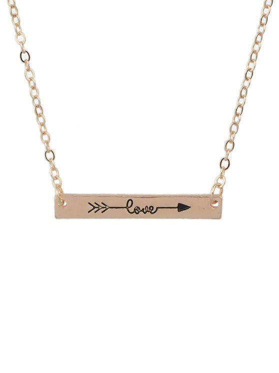 Flecha rectángulo Bar Collar - Rosa de Oro