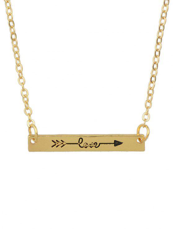 Collier à barre rectangulaire gravé flèche - Or