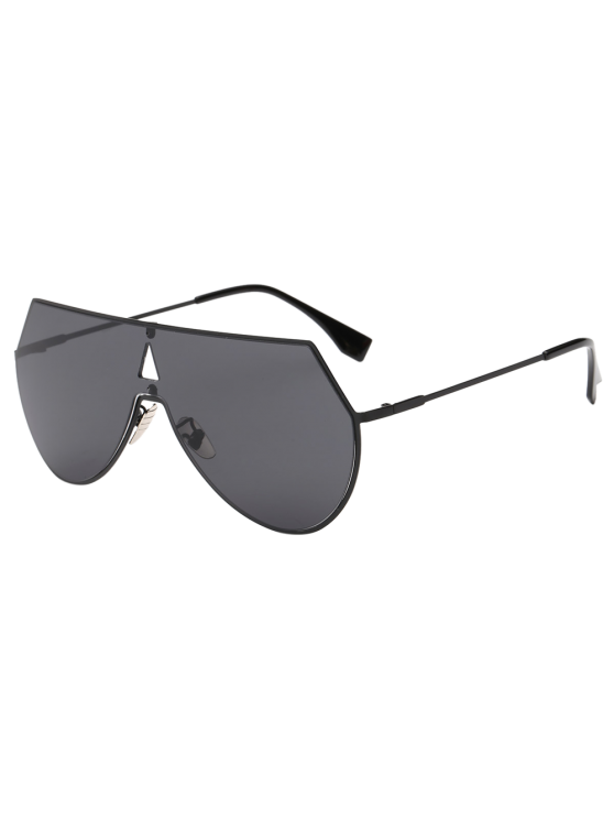 buy Hollow Triangle Shield Sunglasses - BLACK
