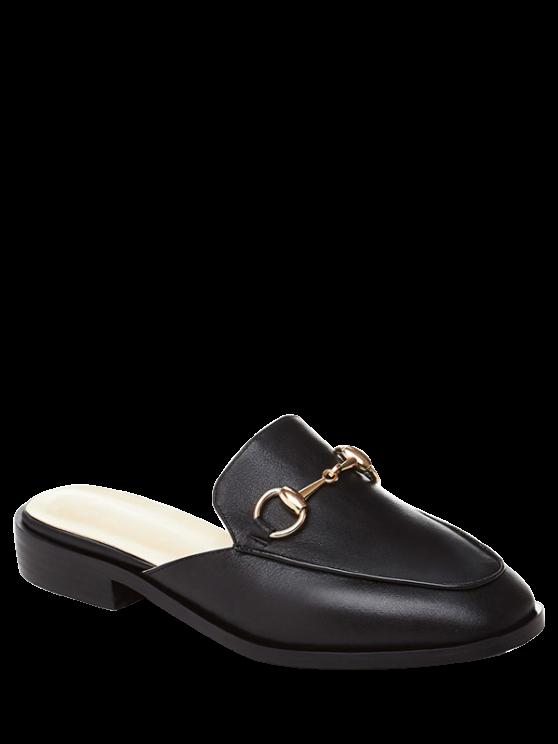 Metal Color sólido sandalias de tacón plano - Negro 35