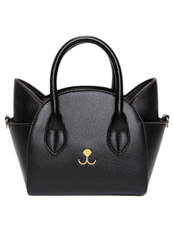 trendy Cat Shape Solid Color Tote Bag - BLACK