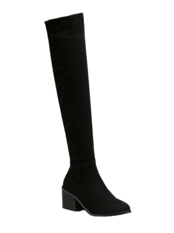 outfits Flock Chunky Heel Thigh Boots - BLACK 38
