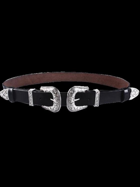 womens Cameo Double Buckle Elastic Waist Belt - BLACK