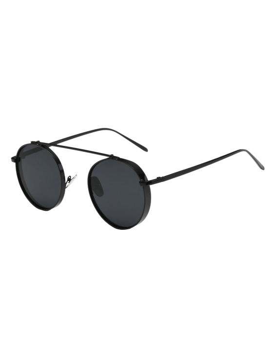 ladies Chunky Frame Round Sunglasses - BLACK