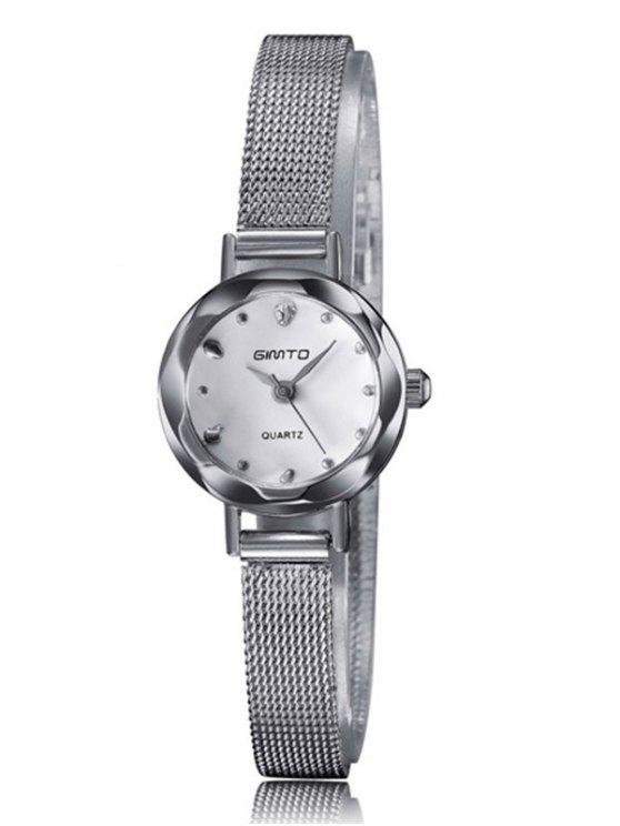 outfit Alloy Band Embellished Quartz Watch - SILVER