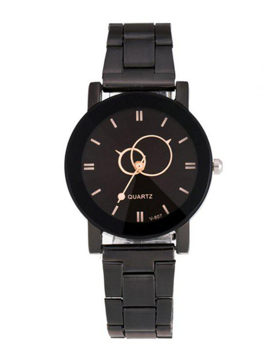 latest Circle Casual Steel Band Quartz Watch - BLACK