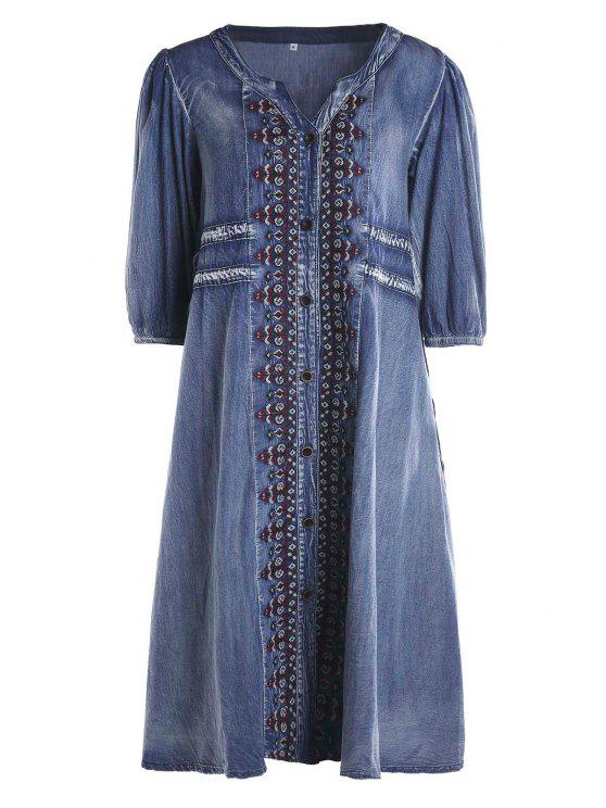 fashion Drawstring Tribal Button Up Denim Dress - BLUE S