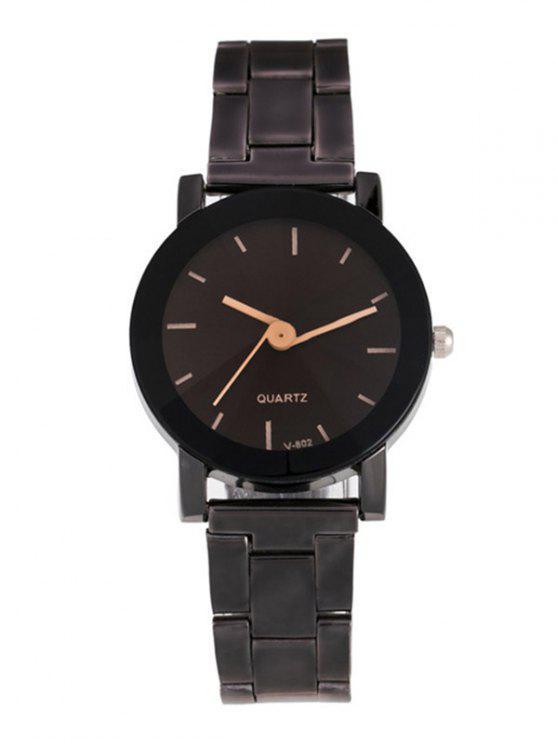 fashion Circle Dial Plate Analog Quartz Watch - BLACK