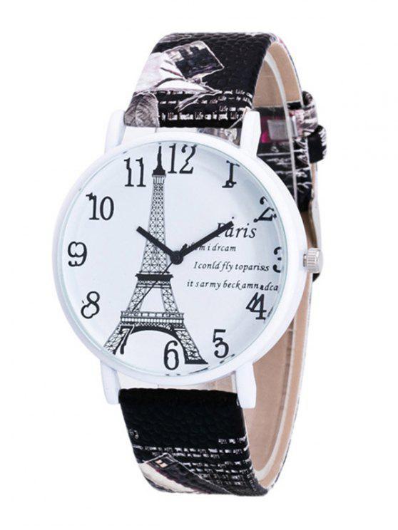 womens Eiffel Tower PU Leather Quartz Watch - BLACK