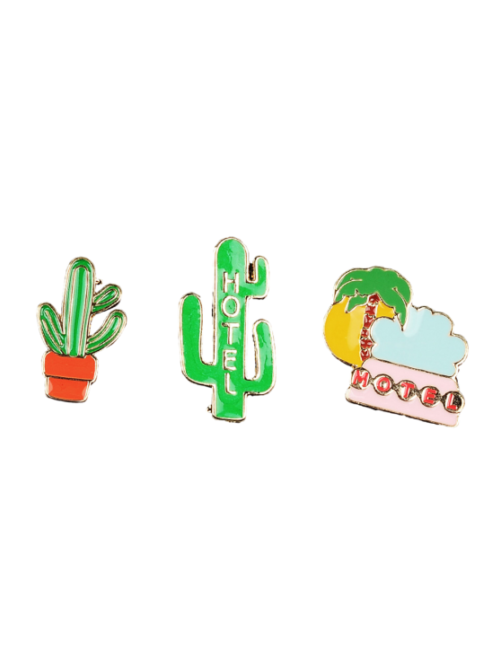 trendy Cactus Hotel Coconut Tree Brooch Set - GREEN