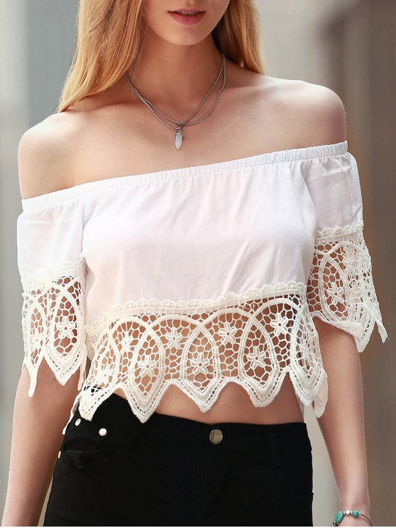 buy Off The Shoulder Cut Out Crop Top - WHITE M