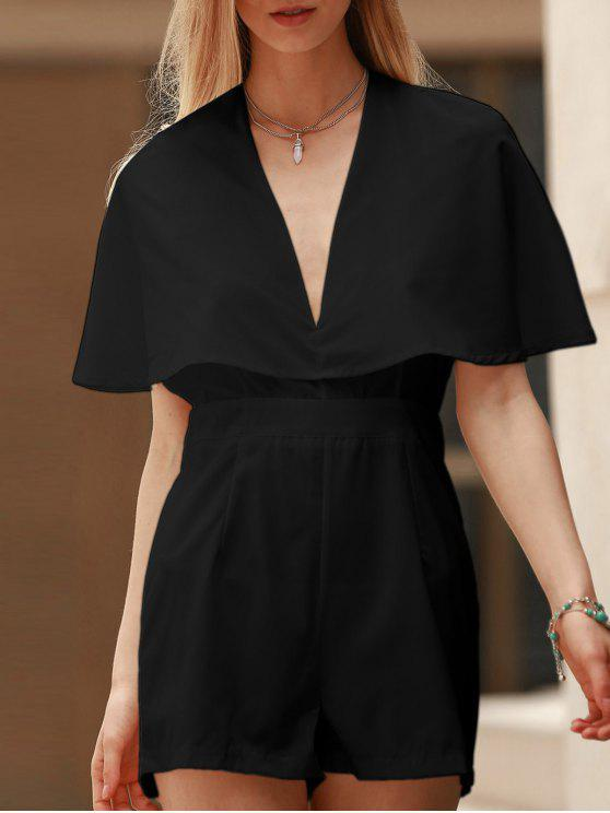 online Solid Color Plunging Neck Bat-Wing Sleeve Romper - BLACK M