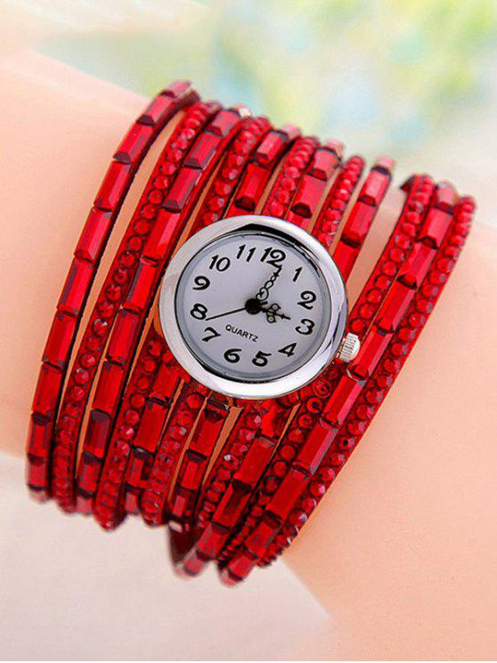affordable Rhinestone Quartz Wrap Bracelet Watch - RED