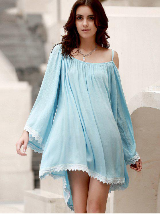 Flare Sleeve Lace Hem A-Line Robe - Bleu clair Taille Unique(S'adap