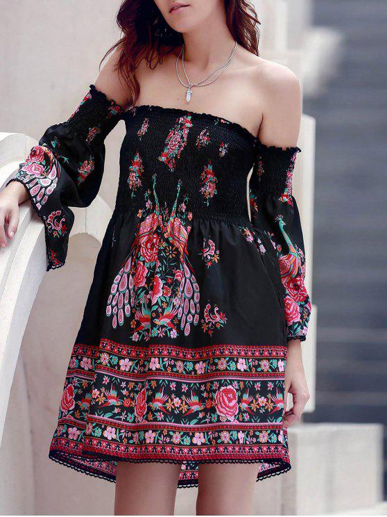 buy Off-The-Shoulder Printed Dress - BLACK S