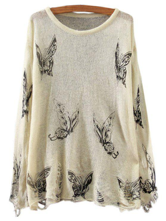 fashion Butterfly Print Long Sleeve Jumper - OFF-WHITE ONE SIZE(FIT SIZE XS TO M)