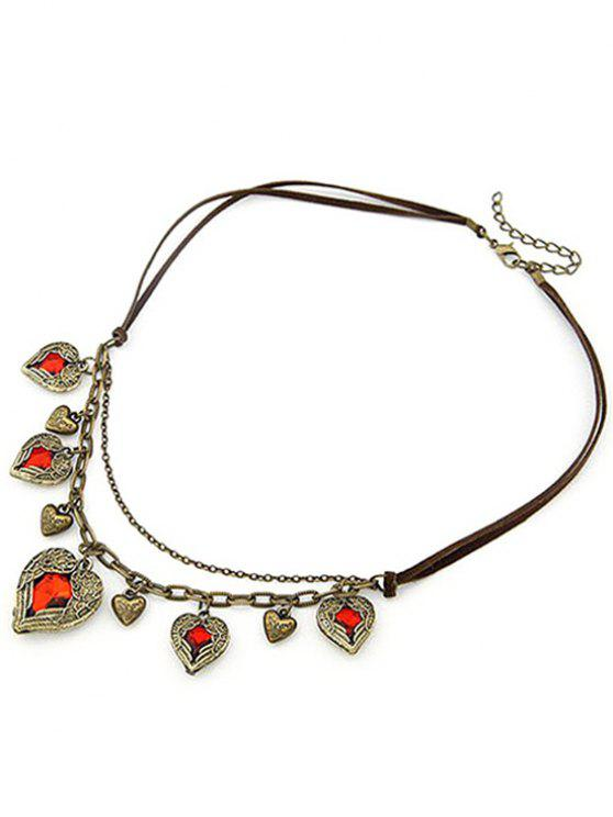 sale Faux Ruby Heart Shape Retro Style Necklace - COFFEE