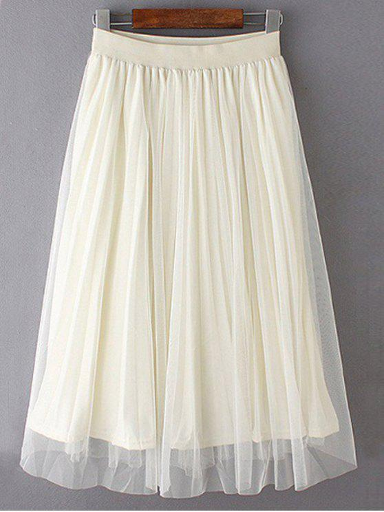 best Mesh Spliced Elastic Waist Skirt - OFF-WHITE ONE SIZE(FIT SIZE XS TO M)