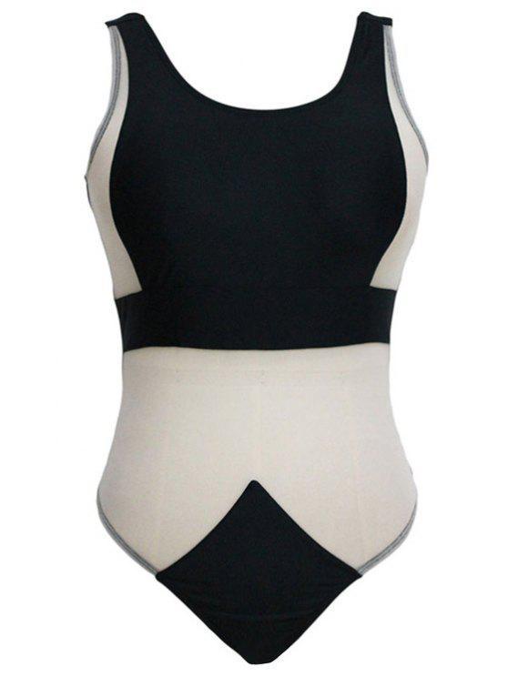 shops Sheer Black One-Piece Monokini Swimwear - BLACK S
