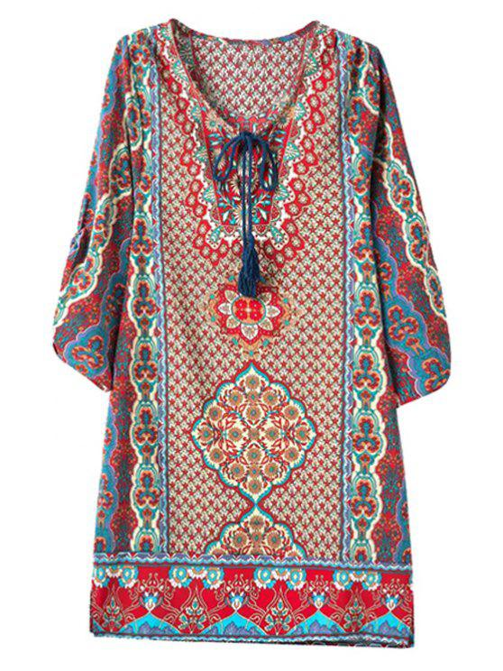 ladies 3/4 Sleeve African Tribal Print Straight Dress - COLORMIX M