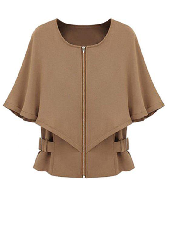 fancy Solid Color Round Color Half Sleeve Cape Coat - CAMEL L