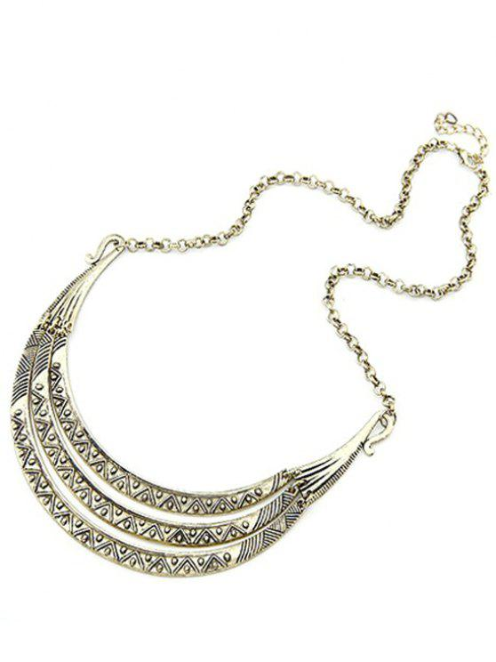 latest Tribal Style Carve Pendant Alloy Necklace - LIGHT GOLD