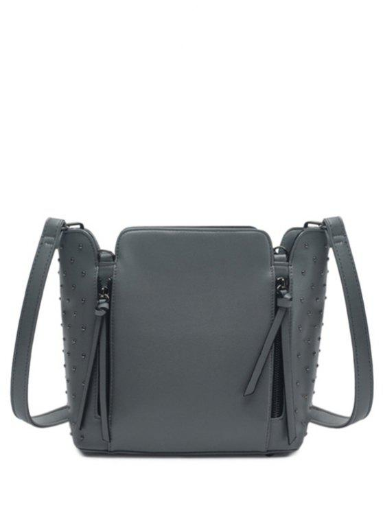 shops Rivets Zips Solid Color Shoulder Bag - GRAY