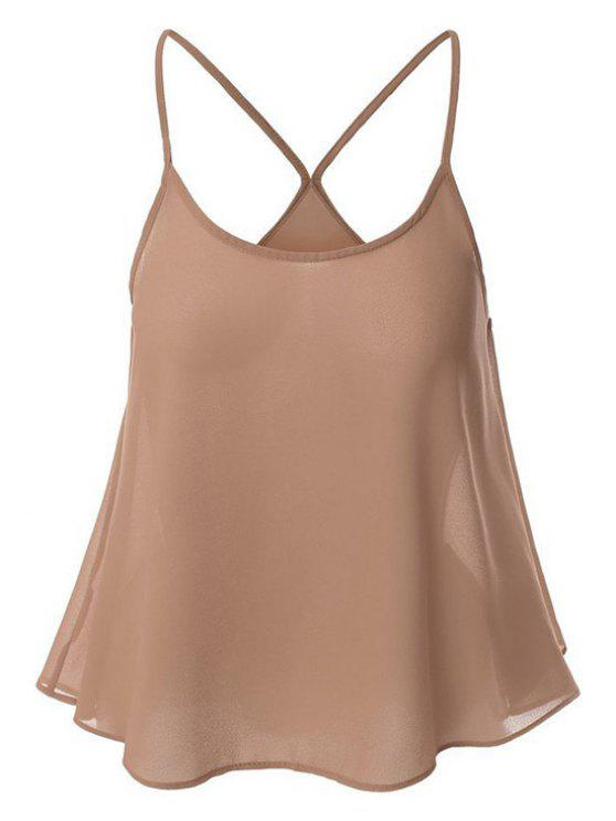 online Candy-Colored Chiffon Cami Top - NUDE S