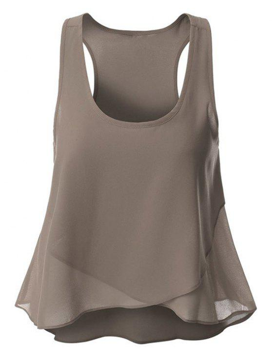 Overlaped Chiffon Tank Top - Cinza L