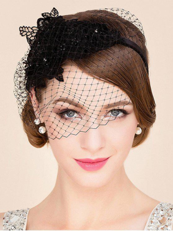 Black Lace Veil Cocktails Headband chapéu - Preto