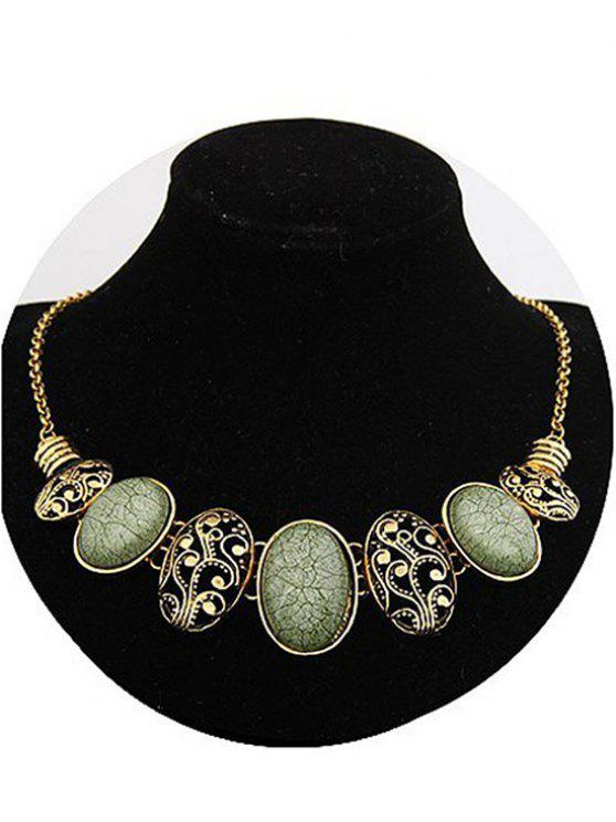 Tribal style Faux Gem Statement Necklace - Vert