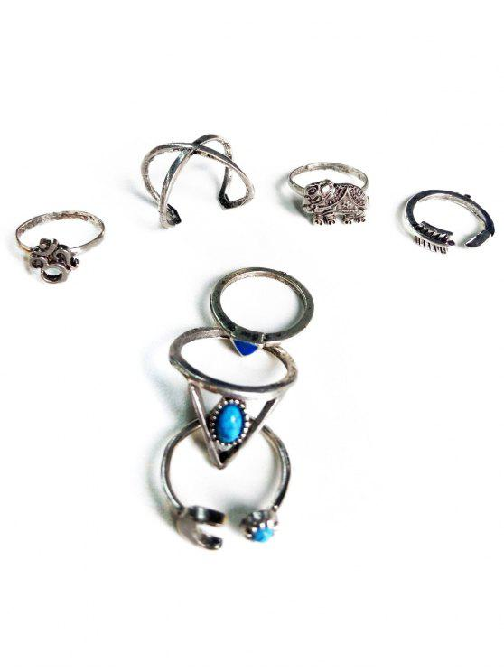 unique Ethnic Style Moon Elephant Rings - SILVER