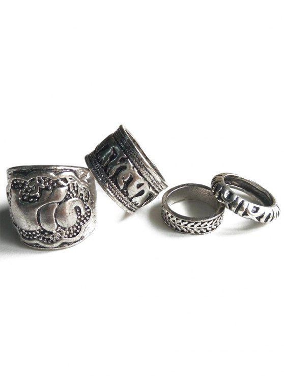 Anéis estilo étnico Elephant Head Cameo - Prata