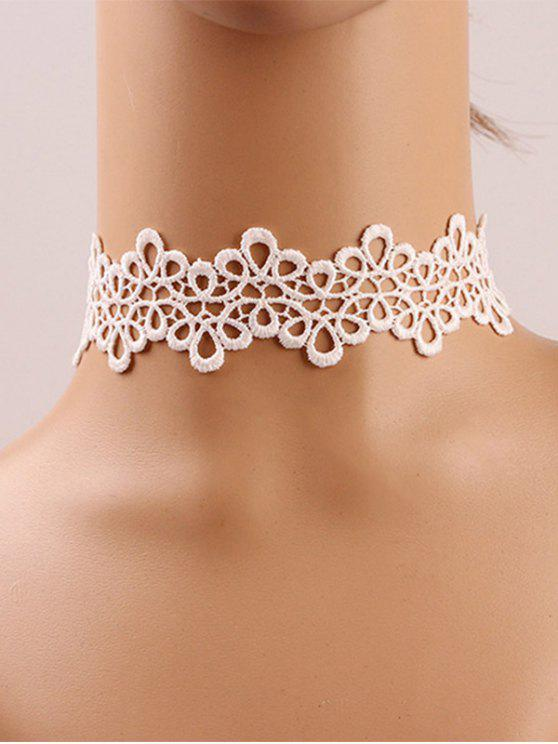 shop Crochet Flower Choker - WHITE GREY