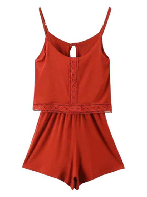 women Lace Band Collarless Braces Playsuit - RED S