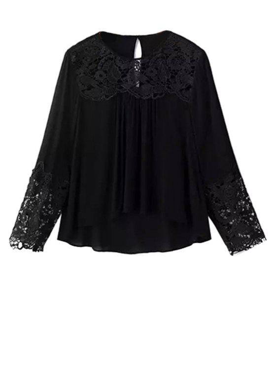 best Lace Splicing Round Neck Long Sleeve Blouse - BLACK S