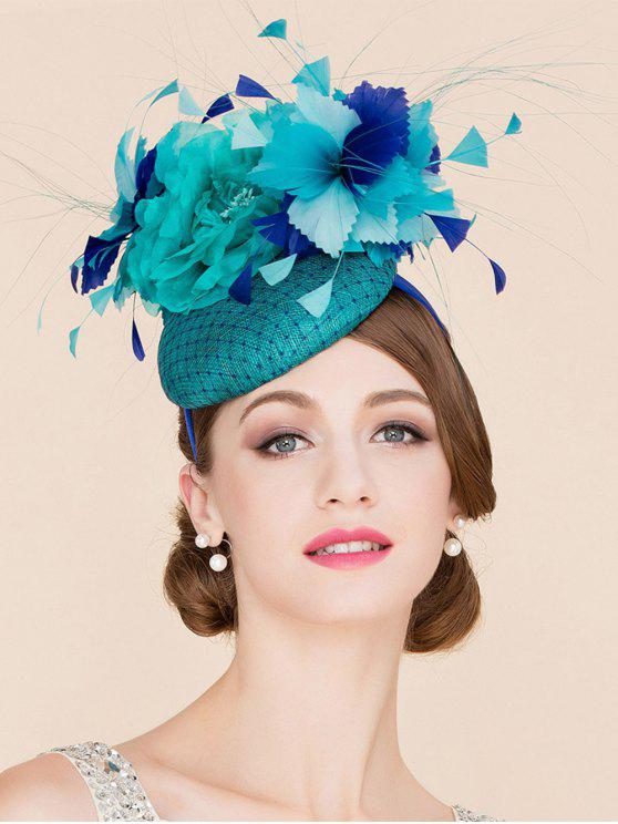 lady Stylish Flower Feather Fascinator Headband Wedding Banquet Party Pillbox Hat - LAKE BLUE