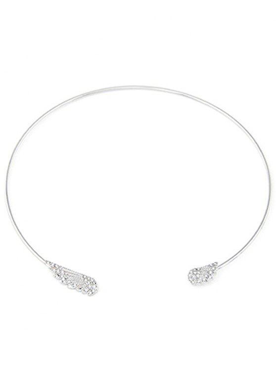 trendy Rhinestone Angel Wings Chokers Necklace - SILVER