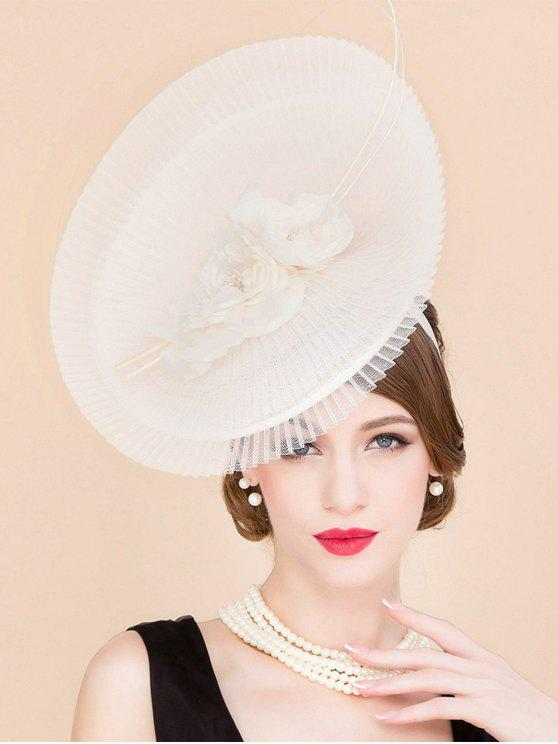 best Stylish Flower Feather Pleated Lace Fascinator Headband Wedding Banquet Party Cocktail Hat - OFF-WHITE