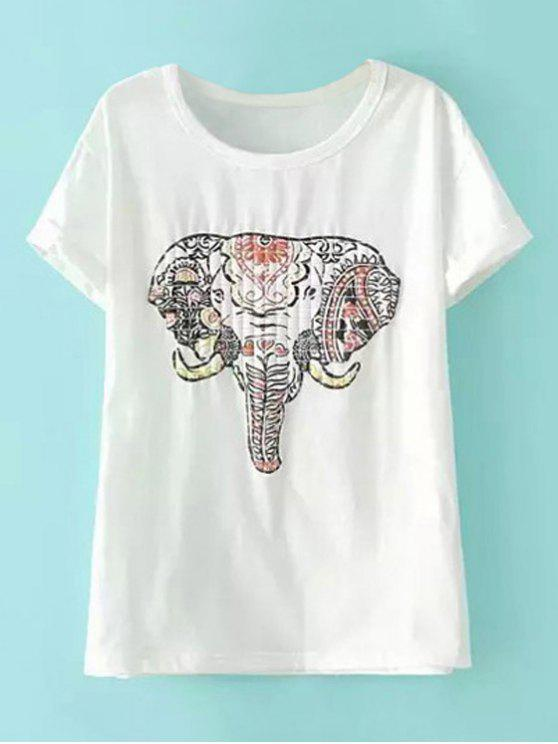 women Short Sleeve Elephant Print T-Shirt - WHITE L