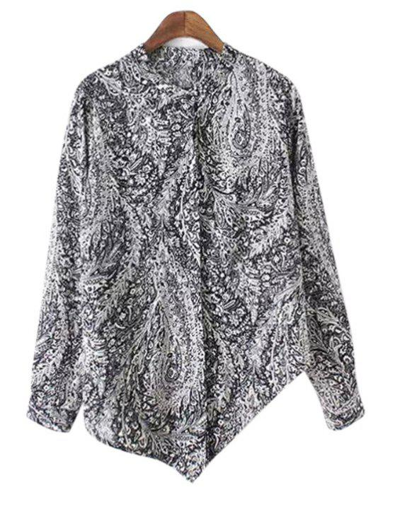 outfit Irregular Hem Stand Collar Long Sleeve Printed Shirt - BLACK M