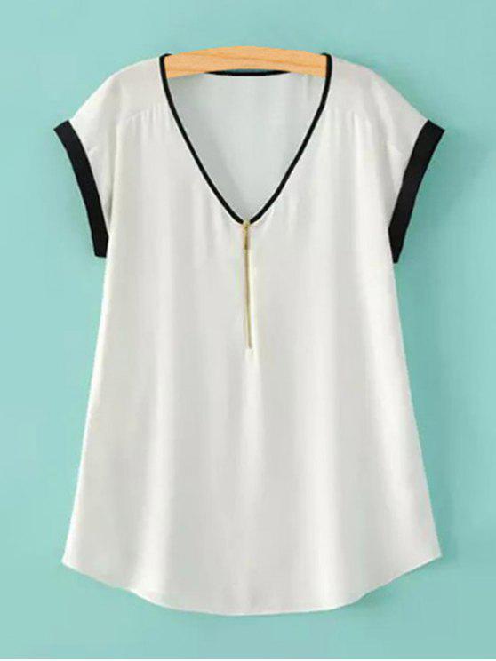 Manga de la cremallera del V-cuello corto camiseta - Blanco L