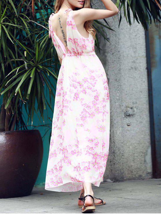 women Low Back Flower Print Flowing Dress - PINK S