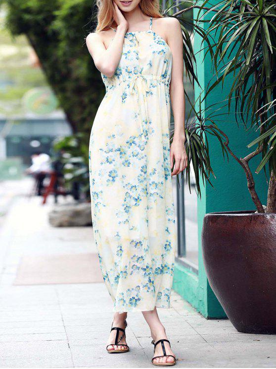 affordable Low Back Flower Print Flowing Dress - BLUE S