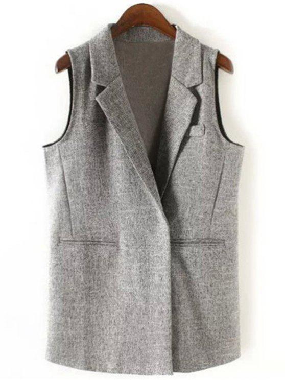 sale Back Slit Lapel Collar Covered Button Waistcoat - GRAY S