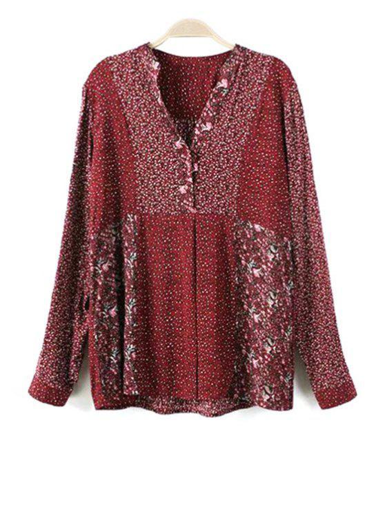 online Loose Floral Print V Neck Long Sleeve Shirt - RED XL