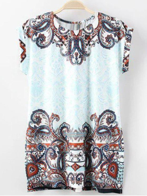 fashion Floral Print Round Neck Short Sleeve T-Shirt - BLUE M