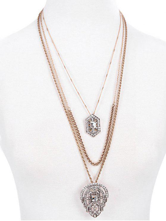 new Rhinestone Water Drop Multilayered Pendant Necklace - GOLDEN